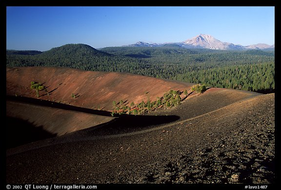 Cinder cone crater and Lassen Peak, early morning. Lassen Volcanic National Park (color)
