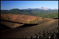 Cinder cone crater and Lassen Peak, early morning. Lassen Volcanic National Park, California, USA.