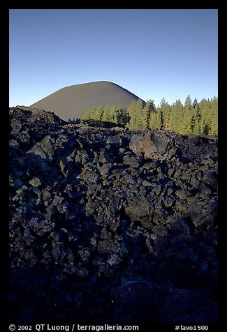 Fantastic lava beds and cinder cone, sunrise. Lassen Volcanic National Park (color)
