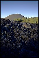 Fantastic lava beds and cinder cone, sunrise. Lassen Volcanic National Park, California, USA. (color)