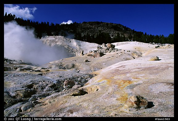 Colorful deposits in Bumpass Hell thermal area. Lassen Volcanic National Park, California, USA.