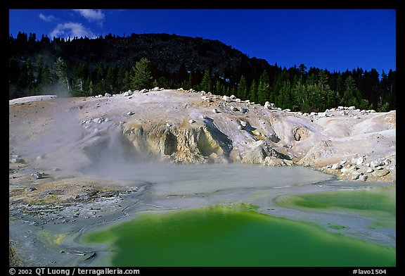 Green pool in Bumpass Hell thermal area. Lassen Volcanic National Park, California, USA.