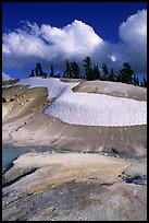 Colorful deposits in Bumpass Hell thermal area, early summer. Lassen Volcanic National Park ( color)