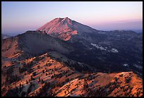 Lassen Peak ridge at sunset. Lassen Volcanic National Park, California, USA. (color)