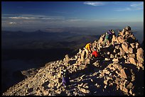Hikers on Summit of Lassen Peak. Lassen Volcanic National Park, California, USA.
