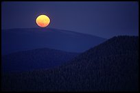 Moonrise from Prospect Peak. Lassen Volcanic National Park, California, USA.