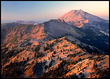 Chain of peaks leading to Lassen Peak, sunset. Lassen Volcanic National Park, California, USA.