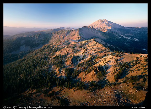 Chain of mountains around Lassen Peak, late afternoon. Lassen Volcanic National Park (color)