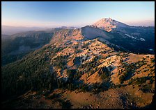 Chain of mountains around Lassen Peak, late afternoon. Lassen Volcanic National Park, California, USA. (color)