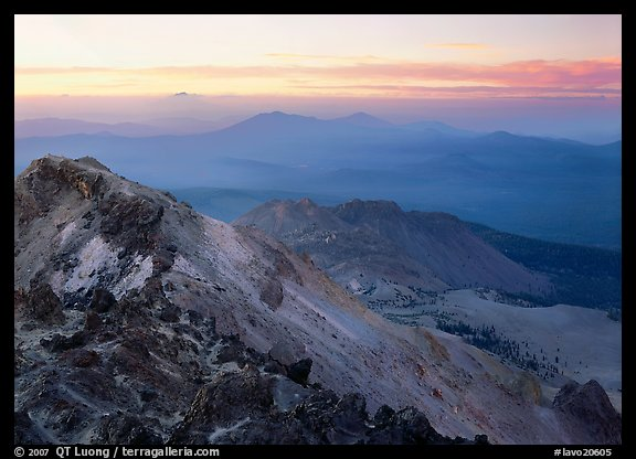 Summit of Lassen Peak at dusk. Lassen Volcanic National Park (color)