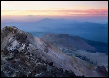 Summit of Lassen Peak at dusk. Lassen Volcanic National Park, California, USA.