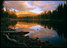 Reflection lake and Chaos Crags, sunset. Lassen Volcanic National Park, California, USA. (color)