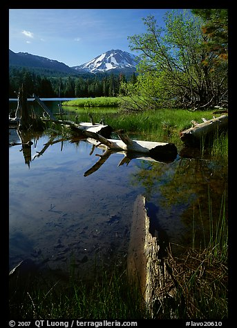 Manzanita Lake and Mount Lassen, morning spring. Lassen Volcanic National Park (color)