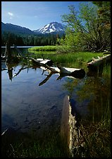 Manzanita Lake and Mount Lassen, morning spring. Lassen Volcanic National Park, California, USA. (color)