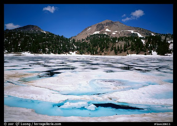 Helen Lake with Ice breaking up, and Lassen Peak. Lassen Volcanic National Park (color)