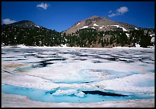 Helen Lake with Ice breaking up, and Lassen Peak. Lassen Volcanic National Park ( color)