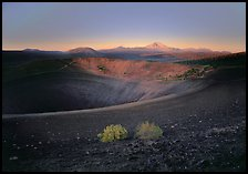 Sagebrush bushes, Cinder cone rim, and Lassen Peak, sunrise. Lassen Volcanic National Park, California, USA. (color)