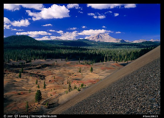 Painted dunes and Lassen Peak seen from Cinder cone slopes. Lassen Volcanic National Park (color)