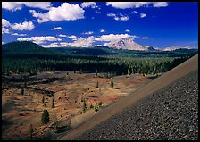 Painted dunes and Lassen Peak seen from Cinder cone slopes. Lassen Volcanic National Park, California, USA.