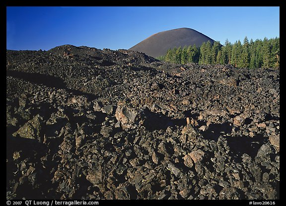 Fantastic lava beds and cinder cone, early morning. Lassen Volcanic National Park (color)