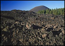 Fantastic lava beds and cinder cone, early morning. Lassen Volcanic National Park, California, USA. (color)