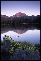 Manzanita lake and Mount Lassen in late summer, sunset. Lassen Volcanic National Park, California, USA. (color)