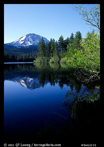 Manzanita lake and Mount Lassen in spring, morning. Lassen Volcanic National Park (color)
