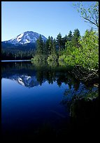 Manzanita lake and Mount Lassen in spring, morning. Lassen Volcanic National Park, California, USA.