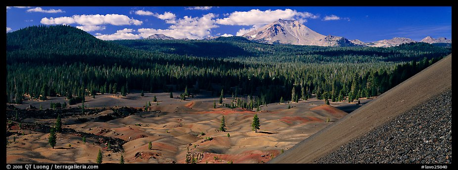 Painted dunes and Lassen Peak from Cinder Cone. Lassen Volcanic National Park (color)