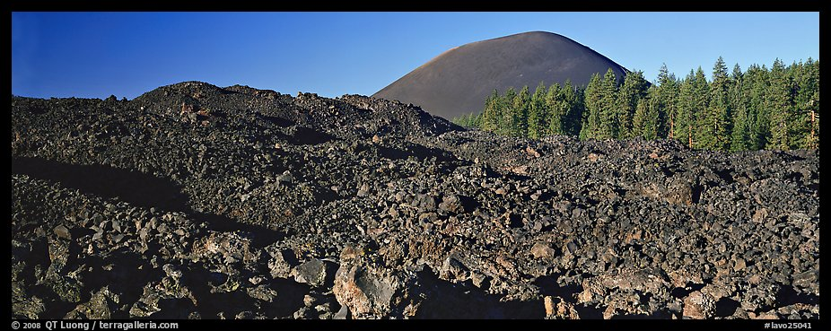 Hardened lava bed and Cinder Cone. Lassen Volcanic National Park (color)