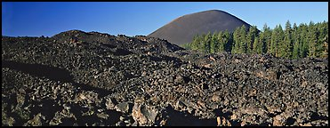 Hardened lava bed and Cinder Cone. Lassen Volcanic National Park (Panoramic color)