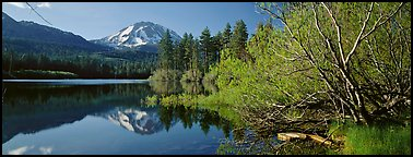 Lassen Peak reflections in the spring. Lassen Volcanic National Park (Panoramic color)