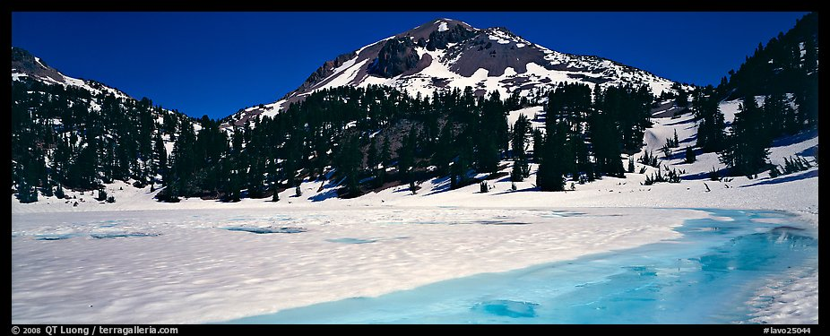 Turquoise color in ice melt below Lassen Peak. Lassen Volcanic National Park (color)