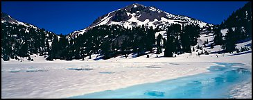 Turquoise color in ice melt below Lassen Peak. Lassen Volcanic National Park (Panoramic color)