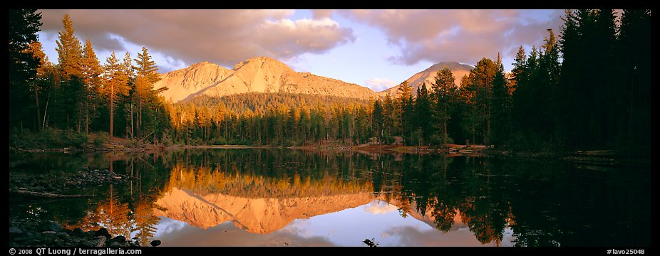Chaos Crags reflected in lake at sunset. Lassen Volcanic National Park (color)