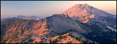 Lassen Peak at sunset. Lassen Volcanic National Park (Panoramic color)