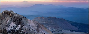 Ridges seen from Lassen Peak at sunset. Lassen Volcanic National Park (Panoramic color)