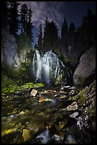 Wide view of Kings Creek Falls and starry sky. Lassen Volcanic National Park ( color)