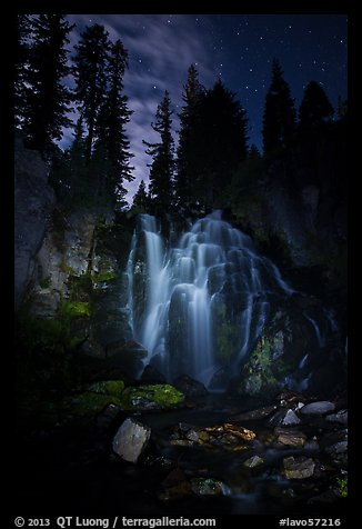 Dimly lit Kings Creek Falls and sky at night. Lassen Volcanic National Park (color)