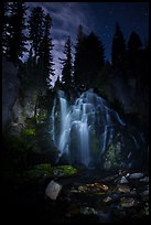 Dimly lit Kings Creek Falls and sky at night. Lassen Volcanic National Park ( color)