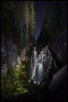 Kings Creek Falls and trees at night. Lassen Volcanic National Park ( color)