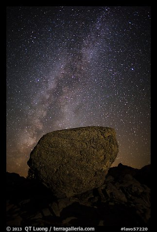 Glacial erratic boulder and Milky Way. Lassen Volcanic National Park (color)