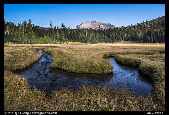 Stream meandering in Upper Meadow. Lassen Volcanic National Park (color)