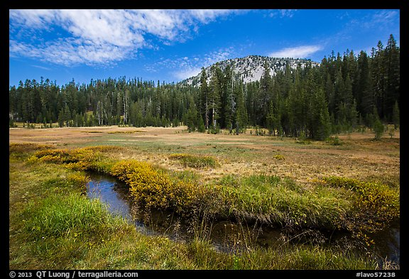 Upper Meadow with stream in late summer. Lassen Volcanic National Park (color)