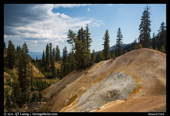 Hill with mineral deposits, Sulphur Works. Lassen Volcanic National Park (color)