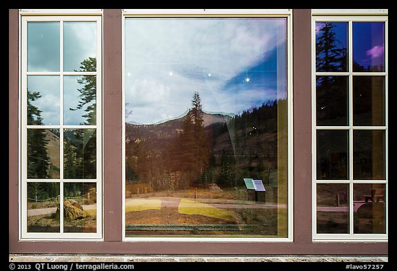 Forest and Peaks, Visitor Center window reflexion. Lassen Volcanic National Park (color)