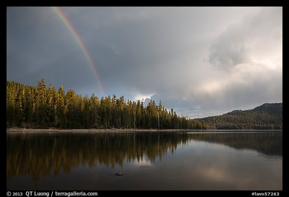 Rainbow and clearing storm, Juniper Lake. Lassen Volcanic National Park (color)