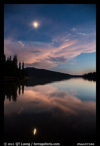 Moon and reflection at dusk, Juniper Lake. Lassen Volcanic National Park (color)