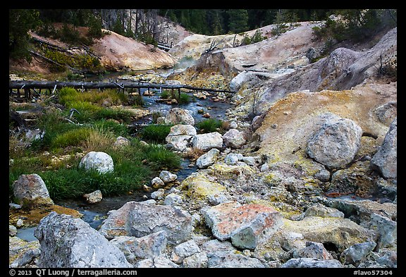 Sulfur deposits next to Hot Springs Creek. Lassen Volcanic National Park (color)