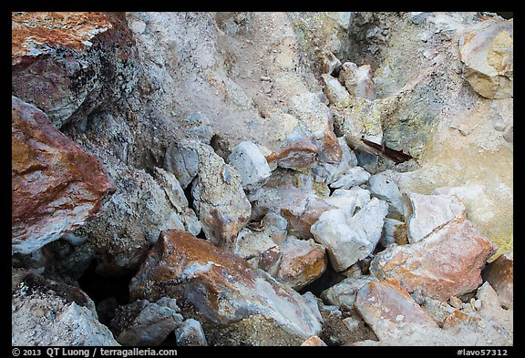 Close-up of rocks with red and yellow deposits, Devils Kitchen. Lassen Volcanic National Park (color)